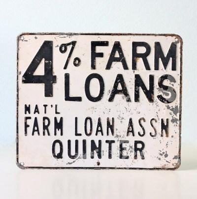 Vintage Sign Farm Loans 4% National Farm Loan by bellalulu