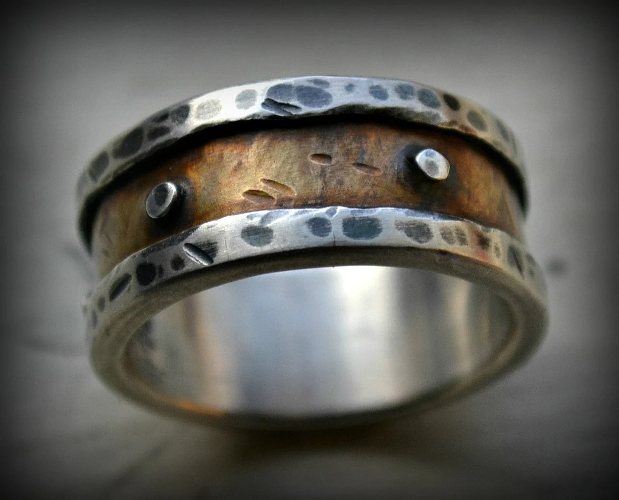 mens industrial wedding ring rustic fine mens country wedding bands zoom