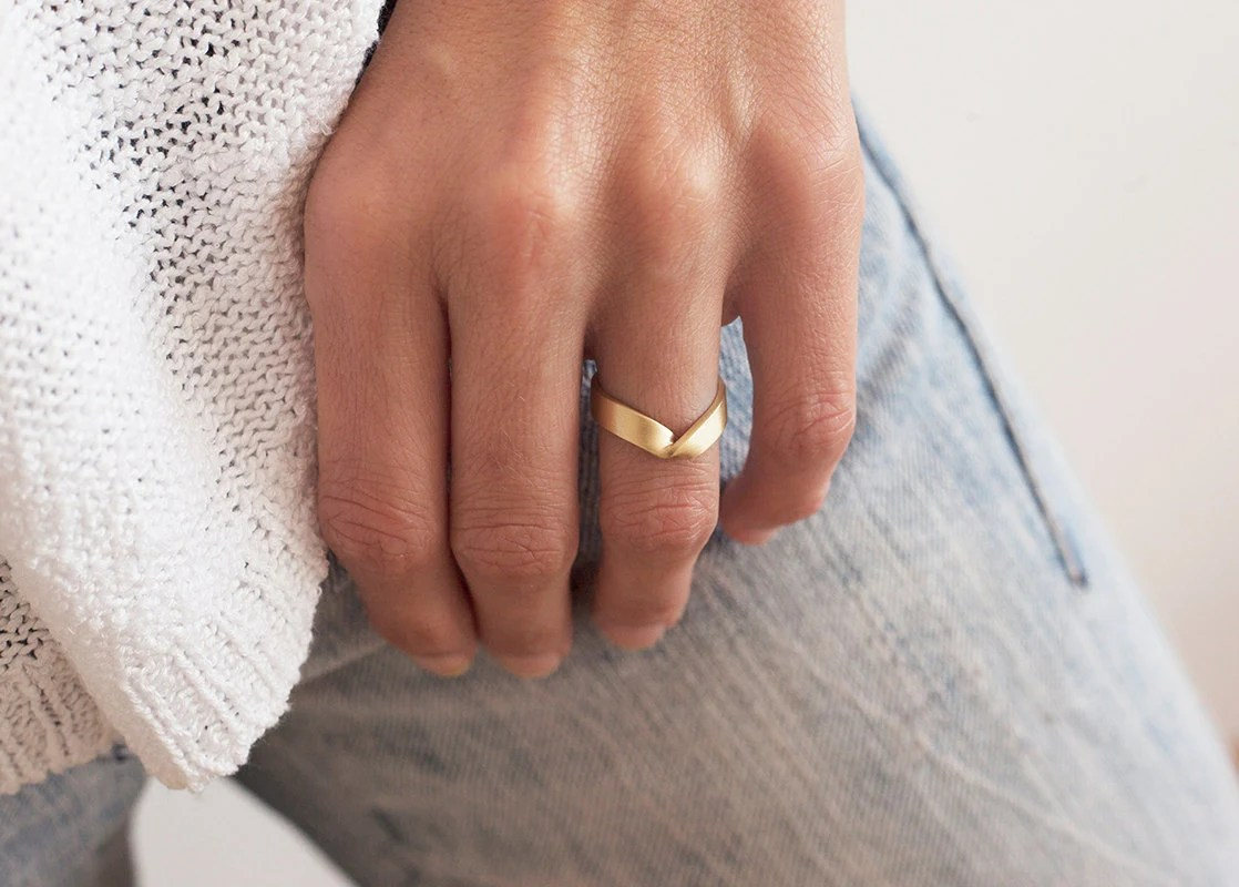 gold v ring wide gold ring wide wedding wide wedding bands zoom