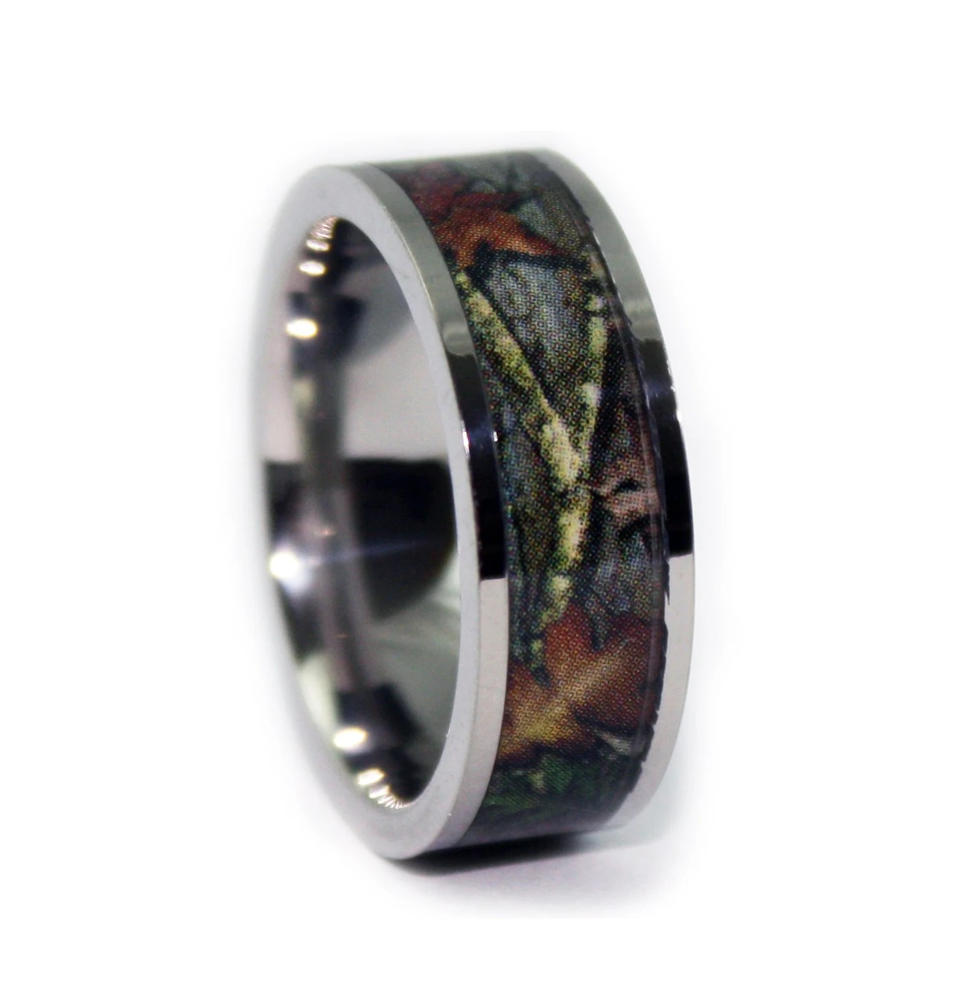 camo wedding rings by one camo flat mens titanium wedding band Titanium Mens Wedding Band Camo Engagement Rings zoom