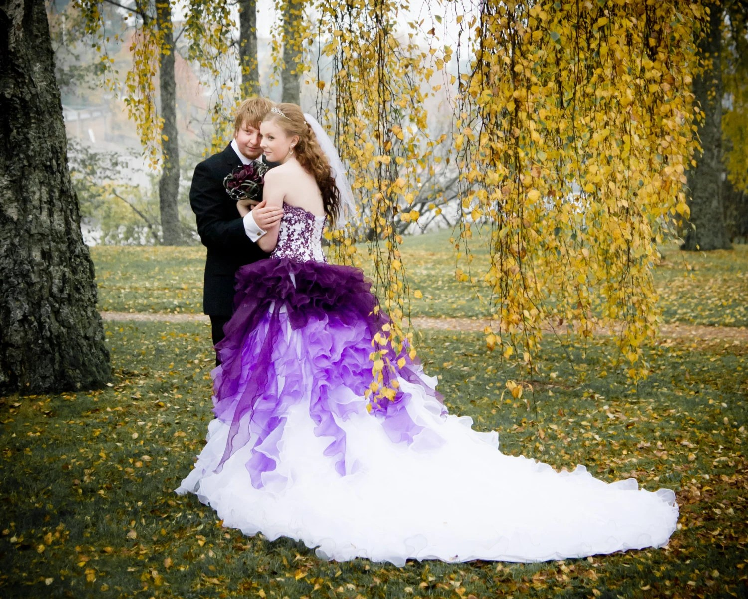 ombre wedding dress steampunk wedding dresses Dip Dye Purple and White Ombre Wedding Dress Strapless with Lace and Organza