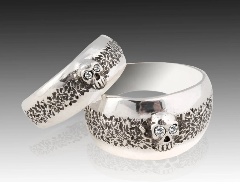 skull ring harley davidson wedding rings Skull Wedding Ring Set Sterling Silver Skull Wedding Ring set with Diamonds