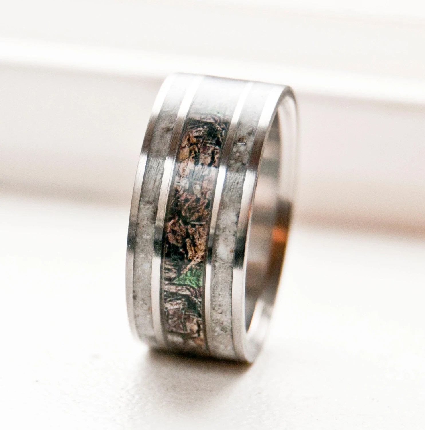 camo ring realtree wedding rings Mens Wedding Band Camo with Antler Ring Staghead Designs