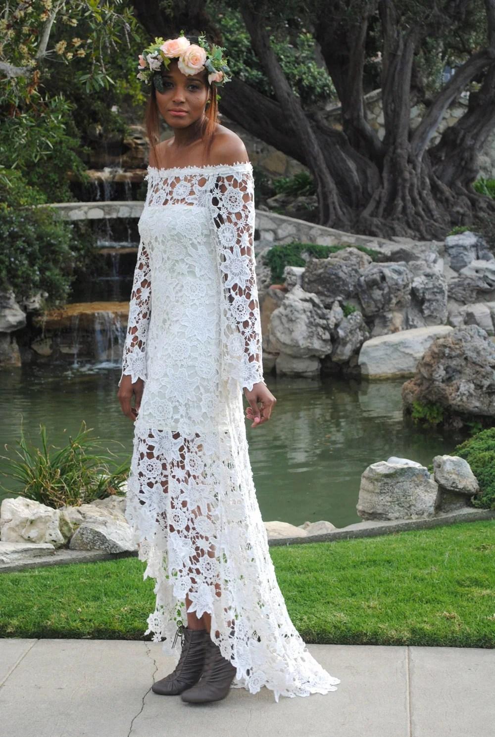 high low lace bohemian wedding dress off bohemian wedding dress cheap Hippie Wedding Dress zoom