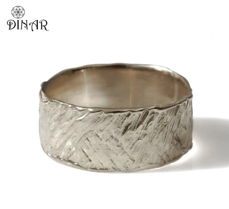 hammered mens ring hammered wedding band 14k white Gold Hammered Wedding Band wide engraved wedding ring men s gold ring women band Handmade design Israel DINAR jewelry