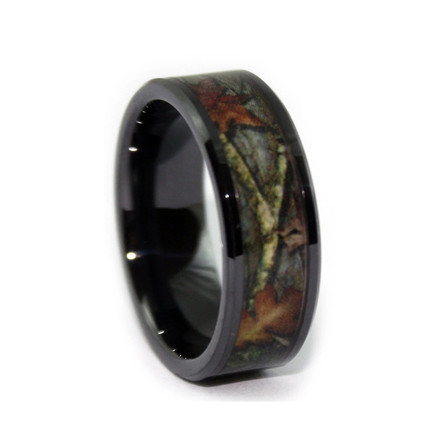 black camo wedding rings by one camo 8mm realtree wedding rings zoom