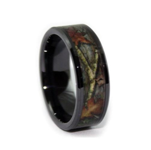 black camo wedding rings by one camo 8mm womens camo wedding rings zoom