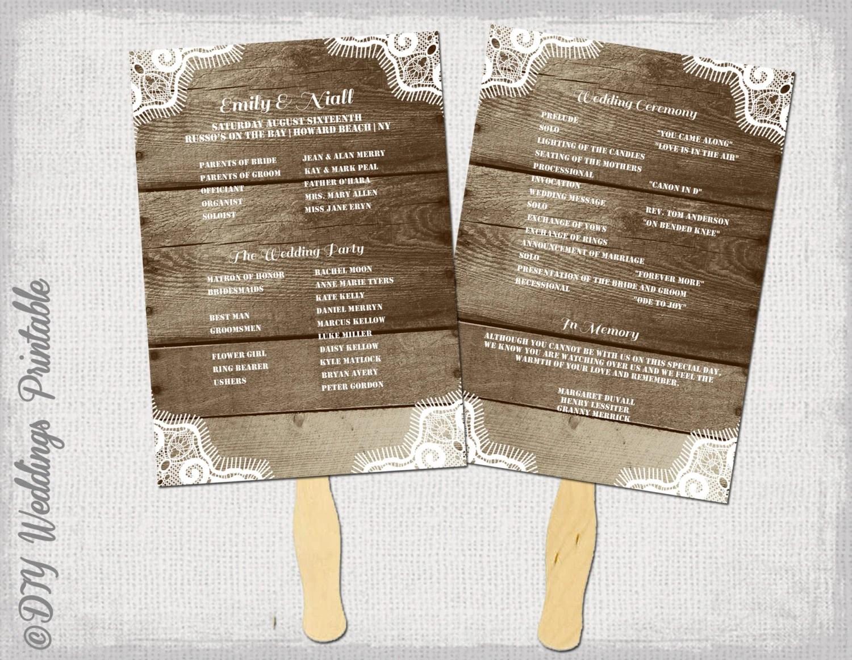 rustic wedding program template fan wedding programs zoom