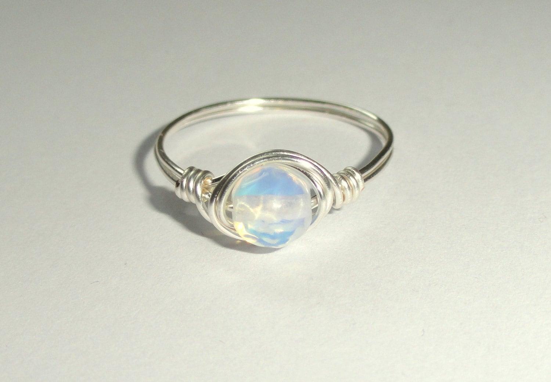 moonstone ring moonstone wedding ring sets Moonstone ring Silver wire wrapped moonstone ring Moonstone wire wrapped ring Gemstone ring Silver moonstone ring