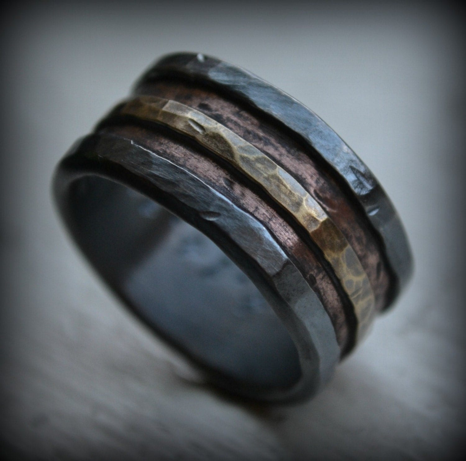 mens wedding band rustic fine silver custom mens wedding bands zoom