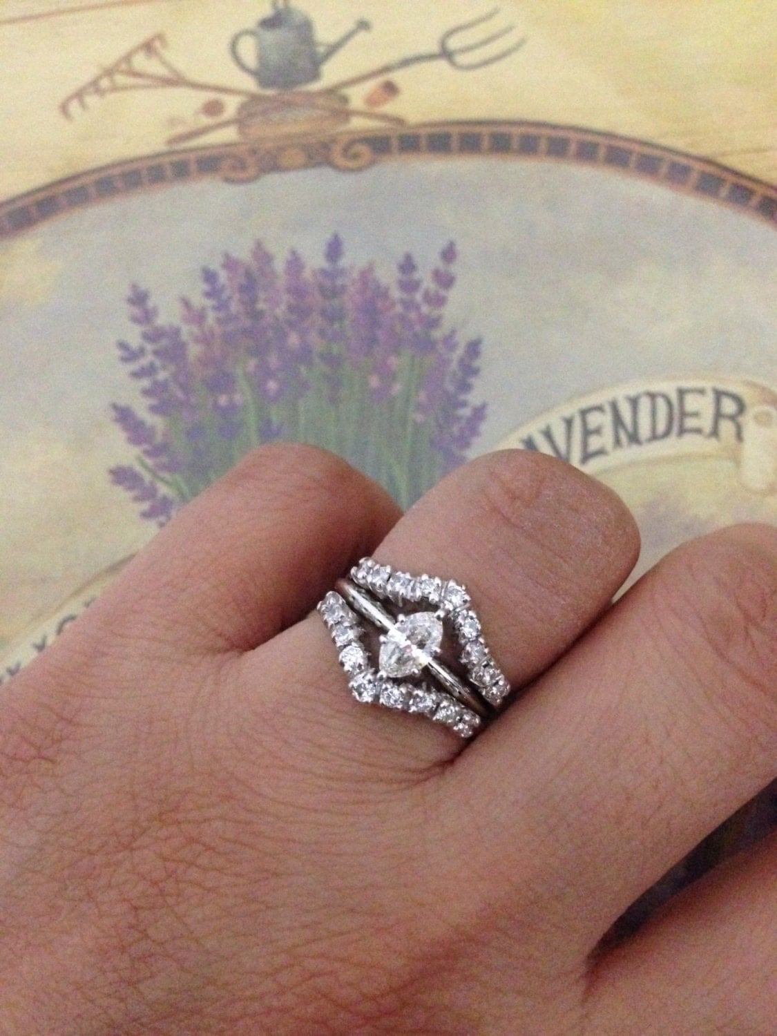 sale 14k vs2 marquise solitaire diamond wedding band enhancers Diamond Ring With Enhancer zoom