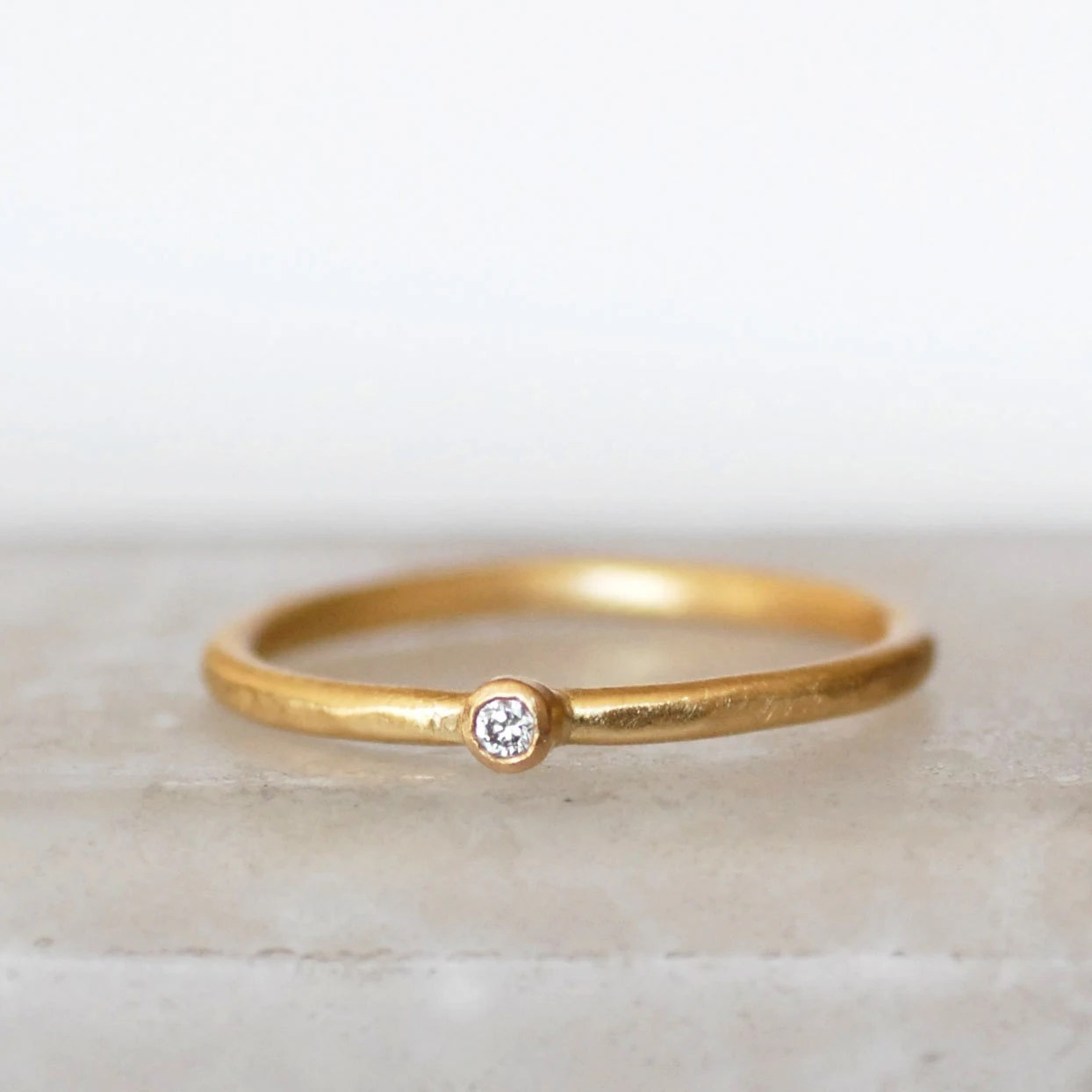 tiny wedding band tiny wedding ring Tiny Diamond Ring 2mm Diamond Ring Small Diamond Gold Stacking Ring Choose 14k OR 18k Gold Eco Friendly Recycled Gold
