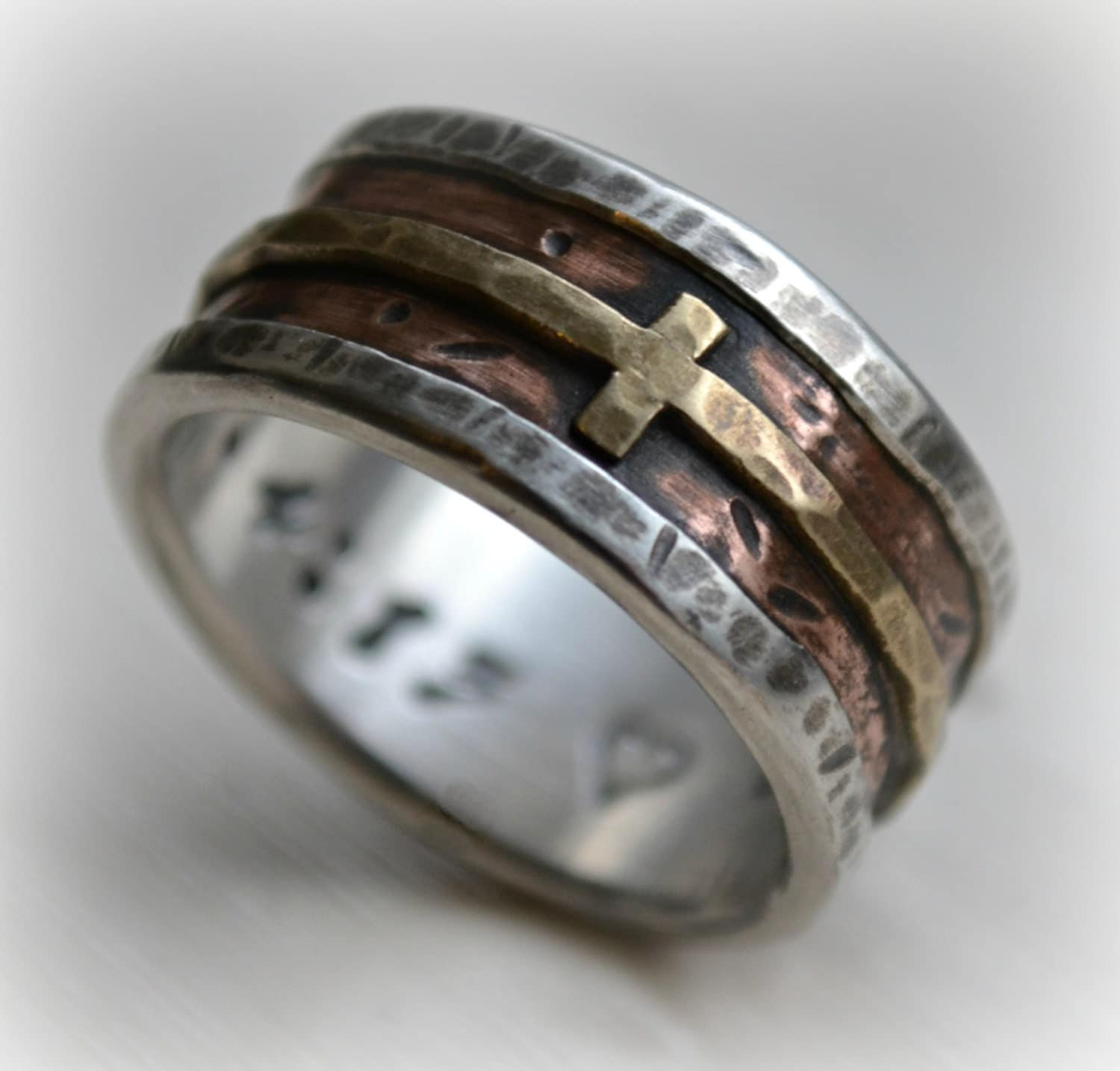 mens cross ring james avery wedding bands mens wedding band rustic fine silver copper and brass cross handmade artisan designed wide band ring manly Christian ring customized