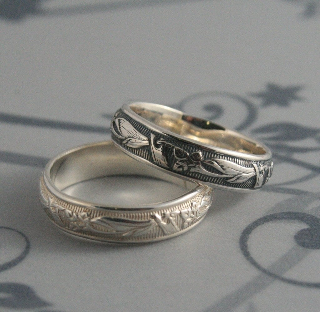 vintage style ring lily nouveau ring vintage wedding band zoom