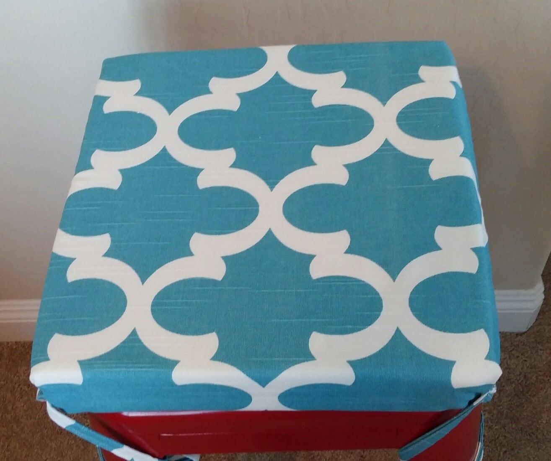 ocean blue teal white geometric print kitchen chair cushions zoom