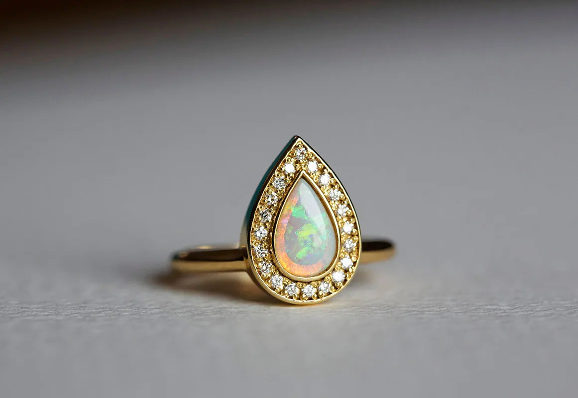 opal engagement ring gold engagement etsy wedding bands zoom