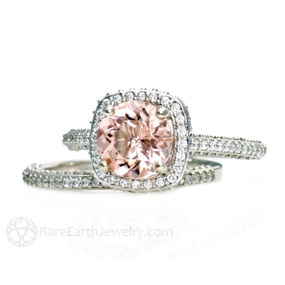 morganite bridal set morganite wedding ring set Platinum Morganite Bridal Set Diamond Halo Morganite Engagement Ring Conflict Free Wedding Ring