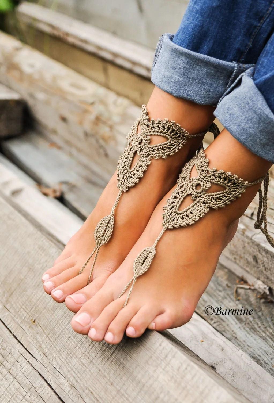 lace barefoot sandal beach wedding shoes Crochet Barefoot sandals Tan lace shoes Barefoot sandal Beach wedding Destination wedding Footless shoes Bridesmaid shoes Beach Shoes