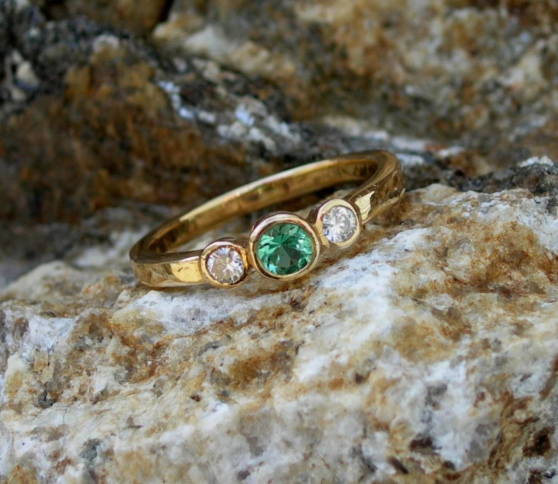 low profile ring low profile wedding ring Maine tourmaline diamond ring bezel set low profile great for everyday wear yellow gold white gold original design custom green