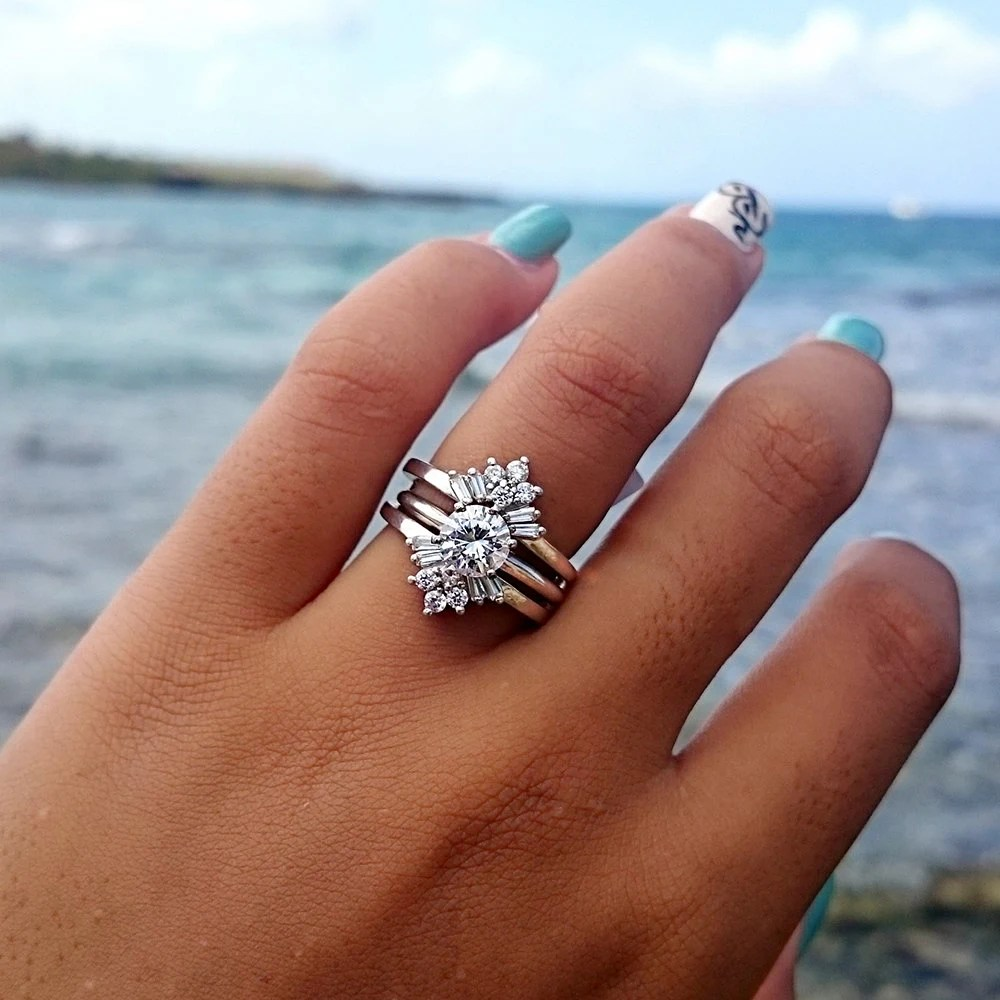 cz ring enhancer wedding band enhancers Sunburst Solitaire Wedding Ring Guard Sterling Silver Ring Enhancer with 42ct Cubic Zirconia