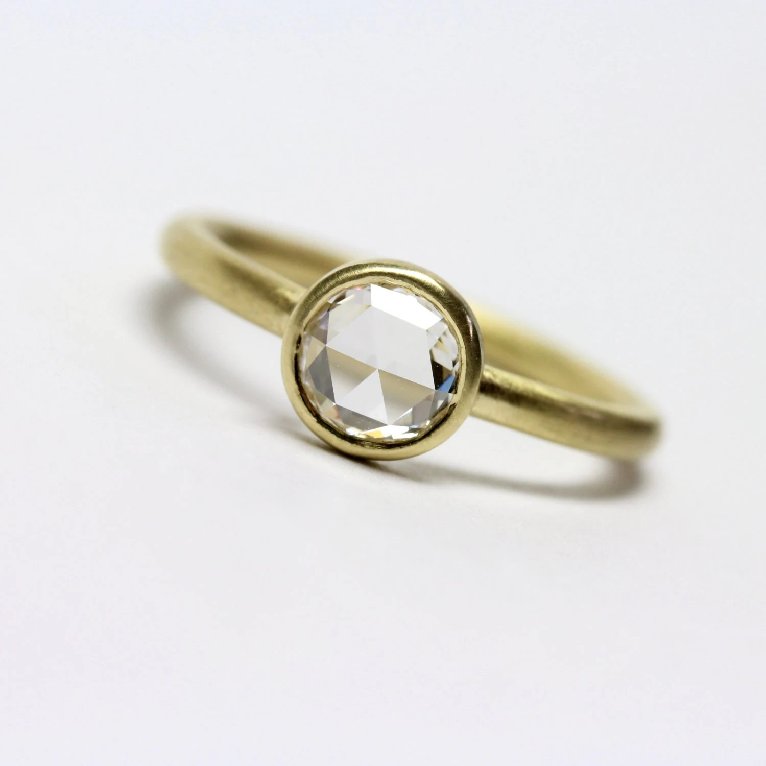 low profile ring low profile wedding ring Clear White Rose Cut Diamond Engagement Ring 18k Yellow Gold Round High Quality Glitter Moon Minimalistic Modern Low Profile Glitzermond