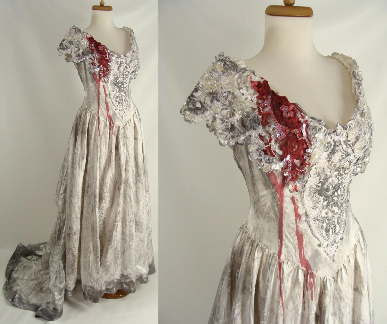 upcycled distressed bloody vampire bride corpse bride wedding dress zoom