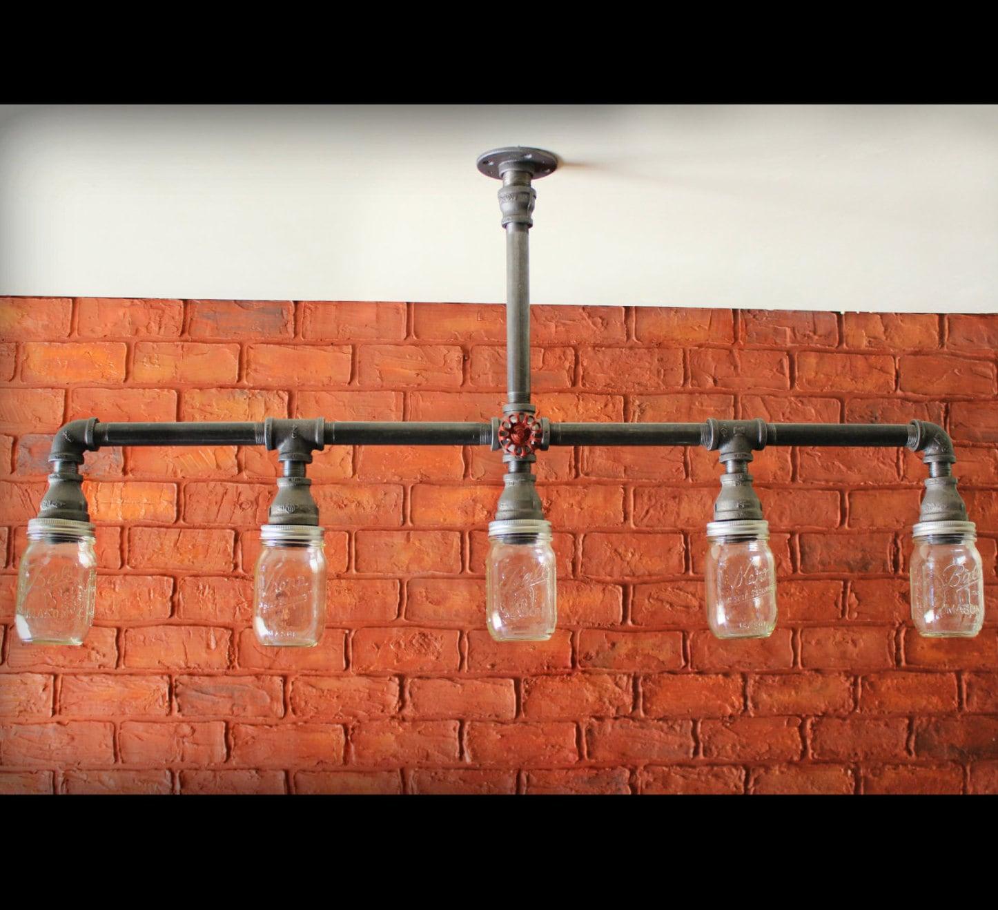 mason jar chandelier ceiling light farmhouse kitchen lights Farmhouse Mason Jar Industrial Kitchen Island light zoom
