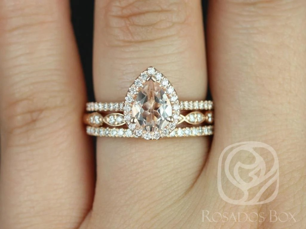 tabitha mm christie 14kt rose gold pear shaped wedding ring zoom