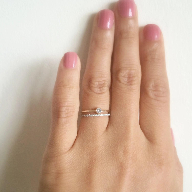 dainty wedding band dainty wedding bands Dainty Engagement Ring 10 CT SOLID 14k gold Dainty Diamond Ring Thin Diamond Ring Stacking Ring Wedding Ring Tiny Bezel Diamond