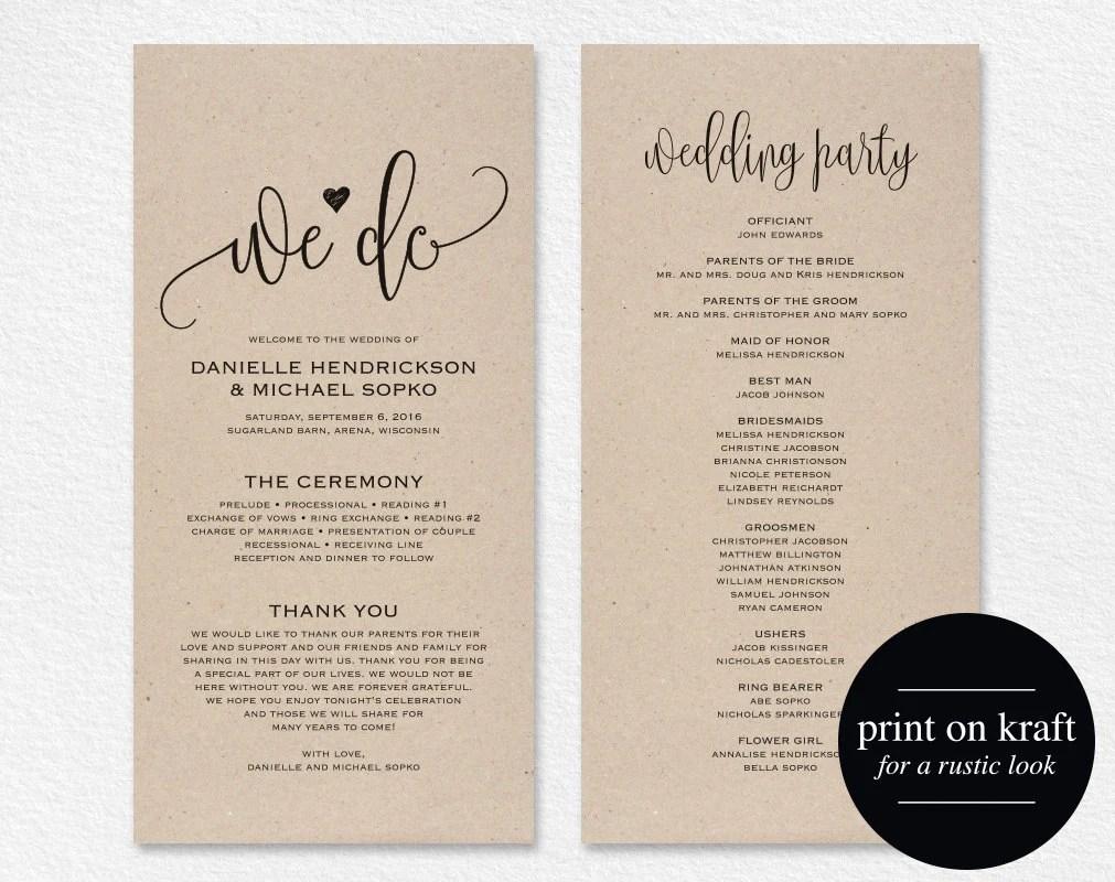 diy wedding program wedding programs Wedding Program Template Wedding Program Printable We Do Ceremony Printable Template PDF Instant Download Kraft DIY BPB 3