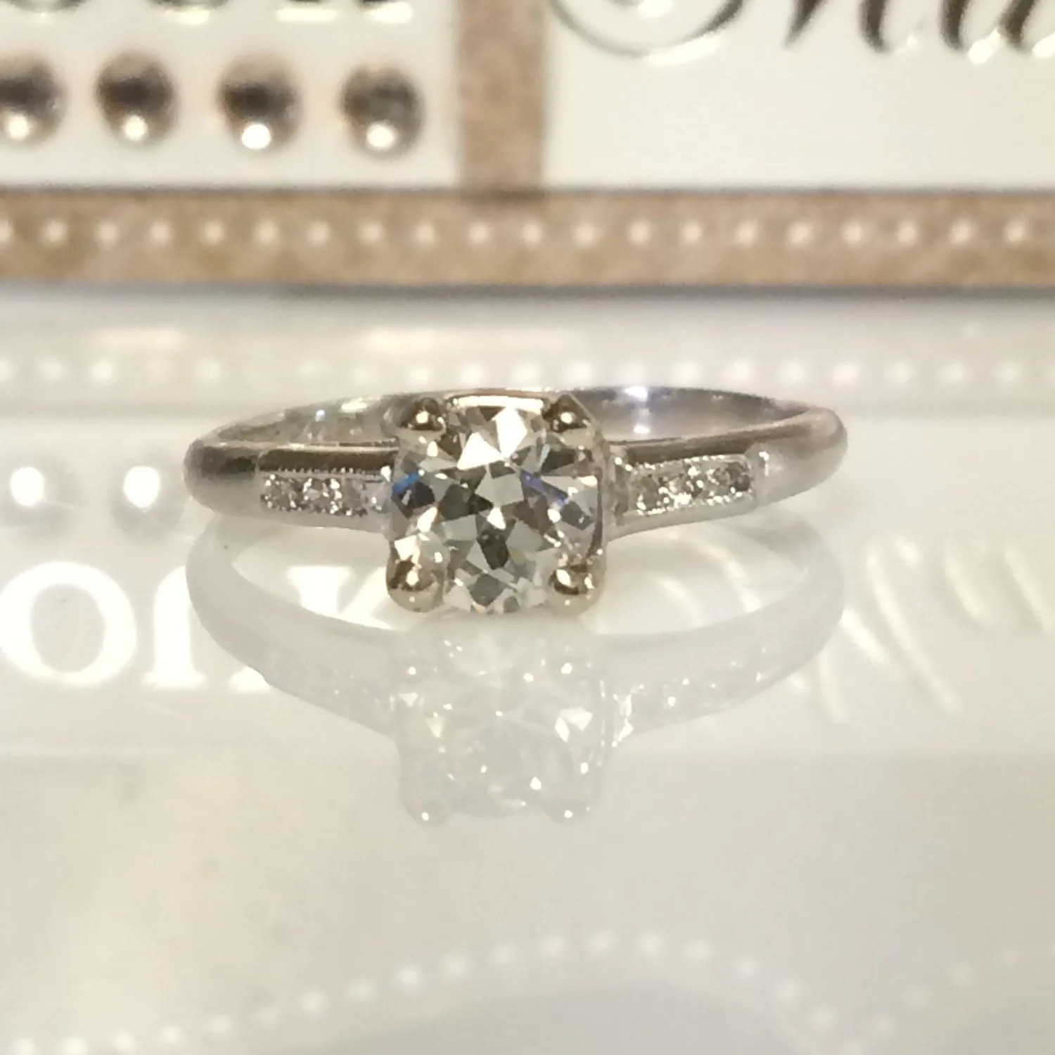 low profile ring low profile wedding ring Vintage Engagement Platinum Diamond Ring Low Profile Push Present Engagement Ring Trend Anniversary Gift Vow Renewal Romantic Jewelry Gift