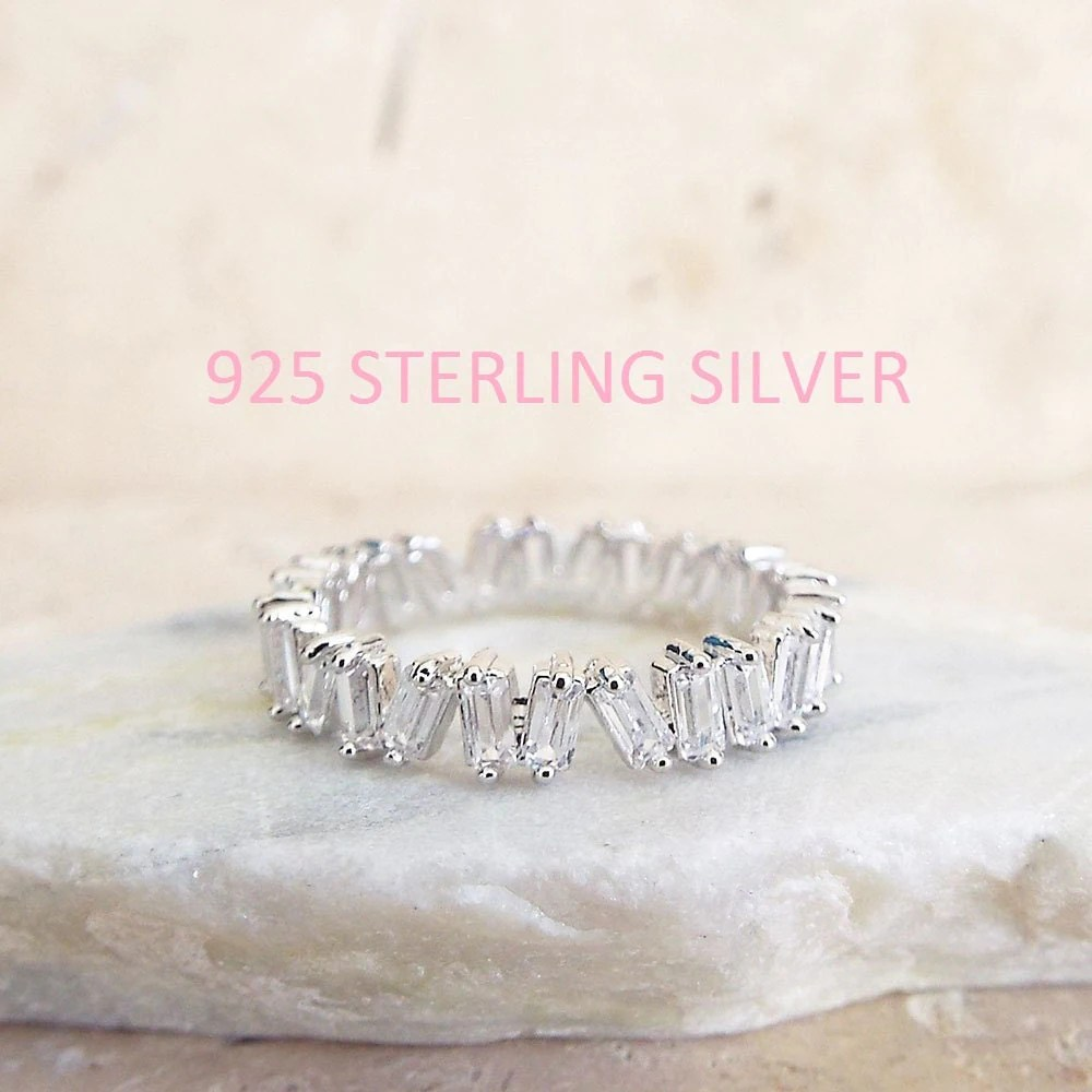 eternity bands eternity wedding bands CZ Diamond Baguette wedding Band White gold sterling silver CZ diamonds 4 mm Sterling Silver ring unique eternity white gold wedding band