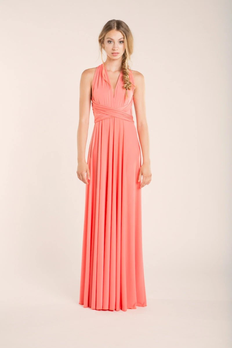 coral bridesmaid dress coral dress for wedding Coral bridesmaid dress pink bridesmaid dress coral wedding coral dress salmon pink dress coral long dress peach infinity dress coral