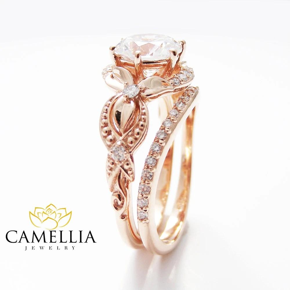 14k rose gold ring rose wedding ring Unique Moissanite Engagement Ring Set 14K Rose Gold Engagement Rings Vintage Floral Moissanite Rings