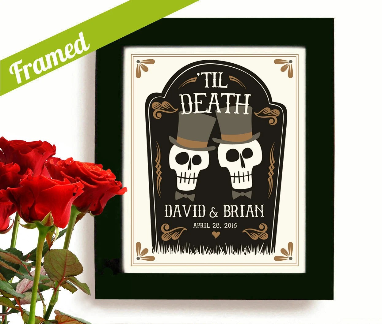 gay marriage gift wedding gift Gay Wedding Gift Personalized Day of the Dead Gay Marriage Newlywed Gift Gay Men Art Print for Gay Couples Goth Couple Gay Anniversary Gift