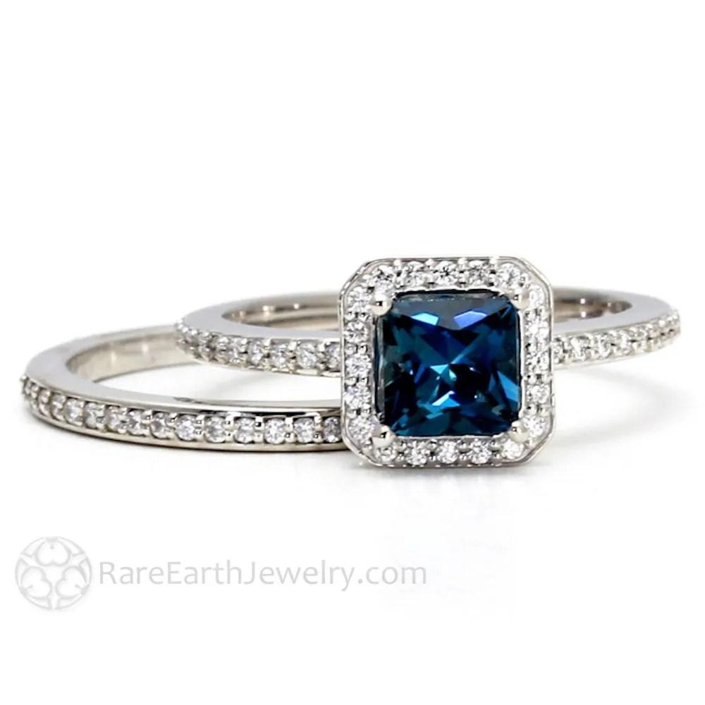 topaz ring wedding ring bridal set London Blue Topaz Engagement Ring Wedding Band Bridal Set 14K or 18K Gold Palladium Diamond Halo Wedding Set Blue Gemstone Ring