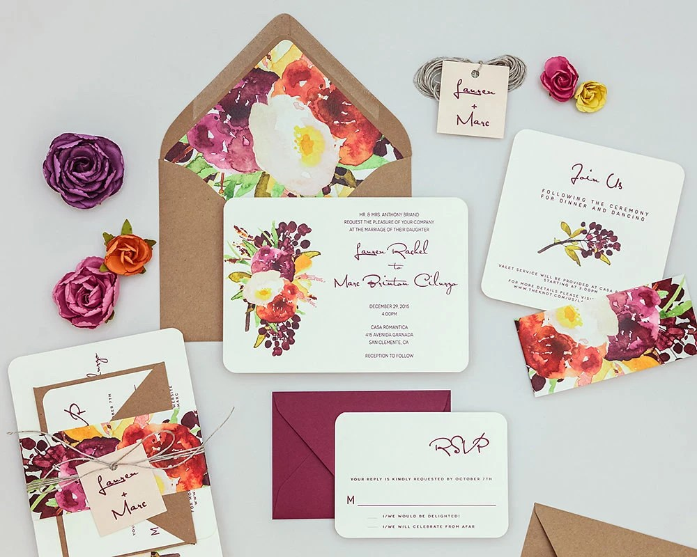 red wedding invites watercolor wedding invitations Rustic Modern Floral Wedding Invitations Autumn Wedding Invites Fall Floral Wedding Invitation Deep Red Watercolor Wedding Invitation Sets