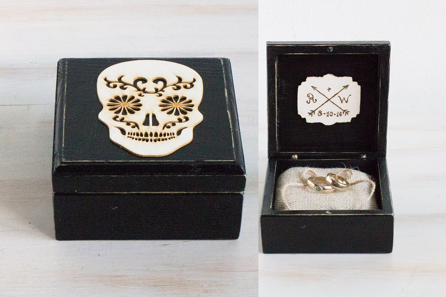 skull wedding ring skull wedding ring Mexican Skull Wedding Box Ring Bearer Box Black Wedding Ring Box Halloween Wedding Engagement Ring Box Ring Holder Day of the Dead Ring Box