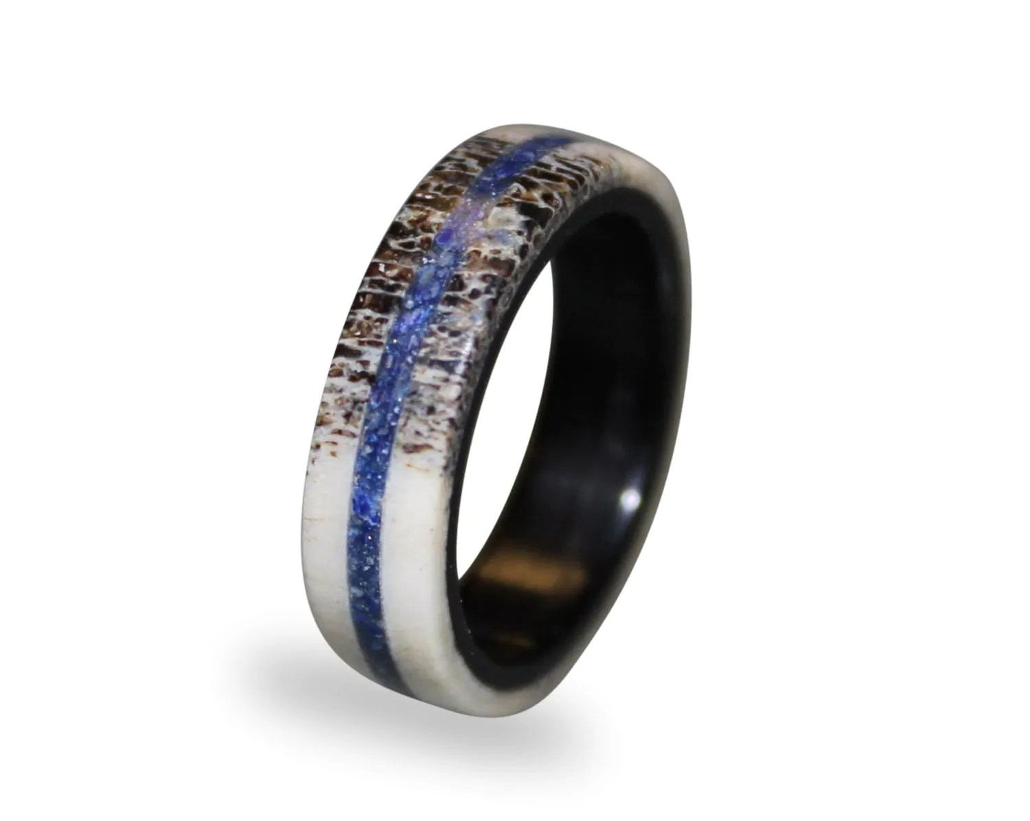 deer antler wedding rings antler wedding band Deer antler wedding rings Deer Antler Fashion Ring Antler Ring With Lapis Lazuli Inlay Lapis
