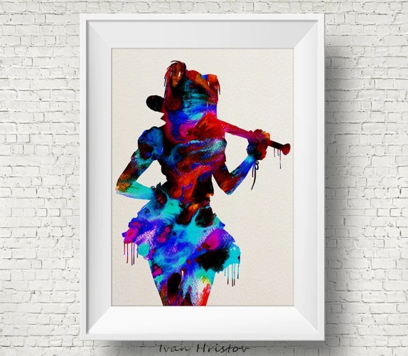 harley quinn wedding harley quinn wedding ring Harley Quinn inspired Watercolor Print Art Print Superhero Nursery Art Gift Poster Minimalist Abstract Art Wedding Geek Nerd Poster