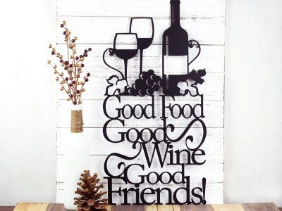 Good Food Good Wine Good Friends Metal Sign Kitchen Decor