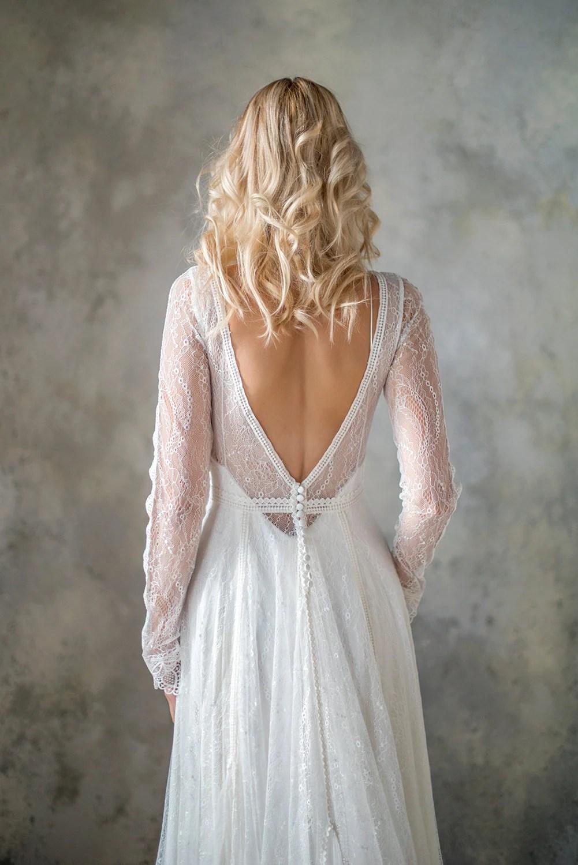 boho wedding dress simple bohemian wedding dresses Long Sleeve boho wedding dress bohemian wedding dress lace wedding dress backless wedding dress boho bridal gown bridal dress