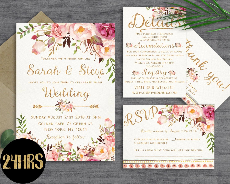 rsvp etsy wedding invitations Wedding invitation template Wedding invitation floral Printable wedding invites set Wedding invitations set printable Printable invitations