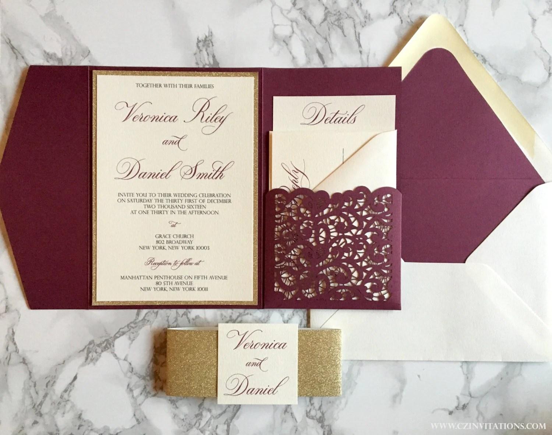 laser cut pocket wedding invitation burgundy wedding invitations zoom
