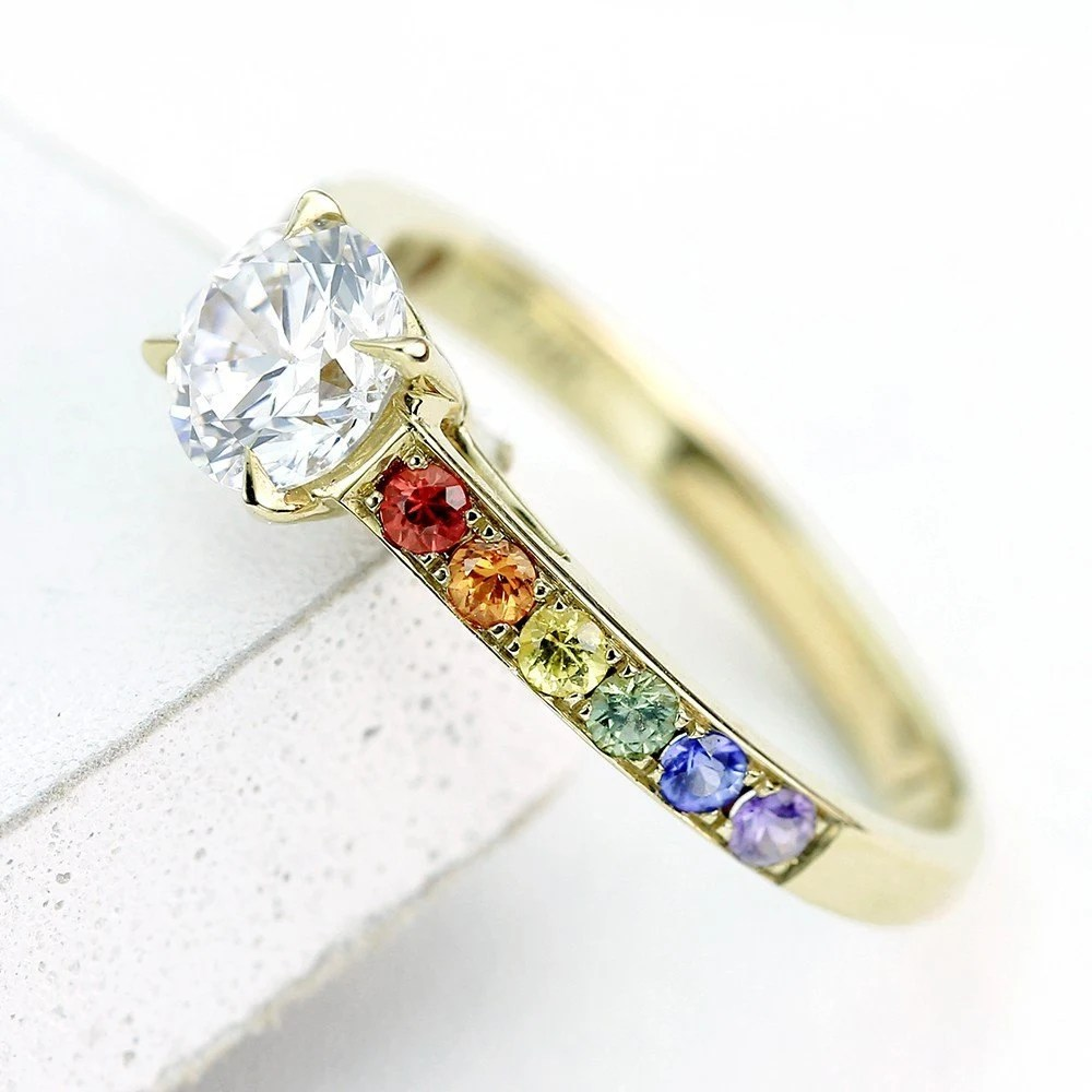 Equalli gay mens wedding rings Gay Mens Diamond Engagement Ring Wedding Band 14K Yellow Gold Unisex Unique Natural Rainbow Sapphire Las Vegas Ring R 14K Yg
