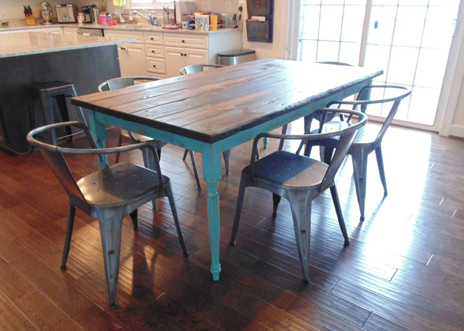 french dining table french country kitchen table Dining Table Ready in 2 Weeks Farmhouse Table French Country Table Reclaimed Wood Table Custom Paint Kitchen Table Distressed Paint