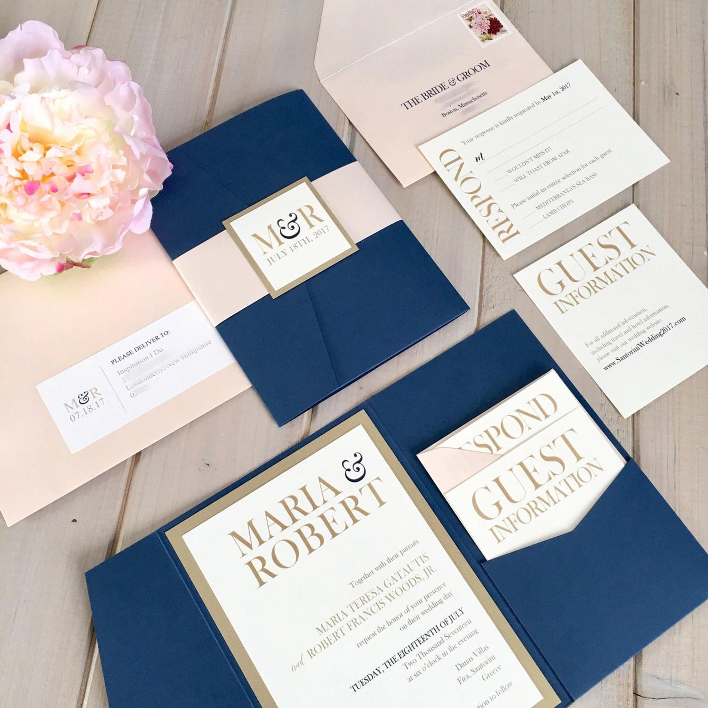 ivory invitation etsy wedding invitations Navy Blush and Gold Wedding Invitations Navy and Pink Wedding Invitations Navy and Gold Wedding Invitations