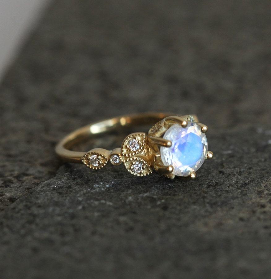 moonstone band moonstone wedding ring sets Gold Moonstone Ring Moonstone Engagement Ring Rainbow Moonstone Ring Romantic Engagement Ring Floral Ring Moonstone Wedding