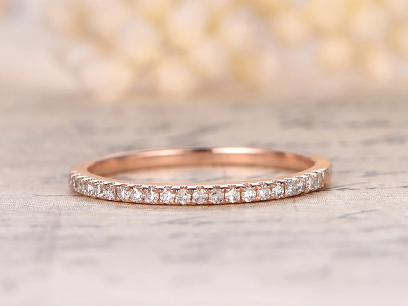 eternity bands etsy wedding bands Valentine s day present 14K Rose Gold Wedding Band Half Eternity Ring Engagement Ring Stackable Ring Micro Pave Diamond Ring Eternity Bands