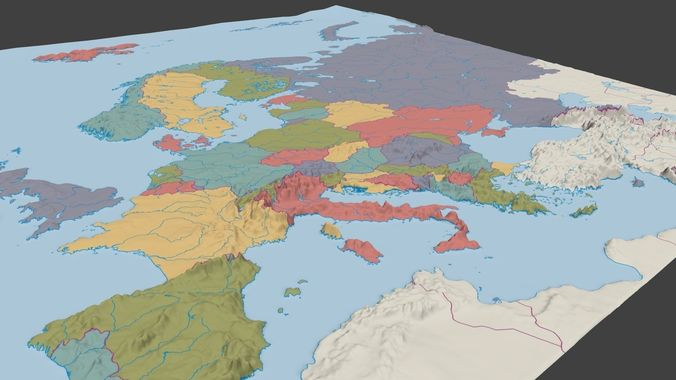 3D Europe political map low poly   CGTrader 3d europe political map 3d model obj 3ds fbx mtl x3d 1